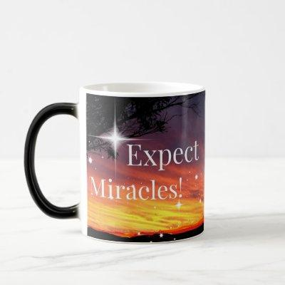 Expect Miracles Sparkle Sunset Inspirational Quote Magic Mug