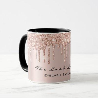 Eyelash Drips Beauty Studio Rose GoldSpark Glitter Mug
