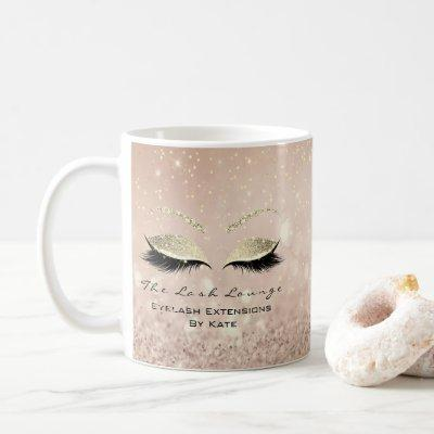 Eyelash Extension Beauty Makeup Gold Glitter Pink Coffee Mug