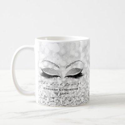 Eyelash Extension Beauty Studio Gray Glitter Ombre Coffee Mug