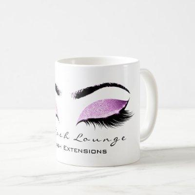 Eyelash Extention Beauty Magenta Pink Glitter Coffee Mug