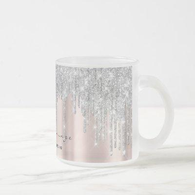 Eyelash Extention Beauty Rose Spark Makeup Gray Frosted Glass Coffee Mug