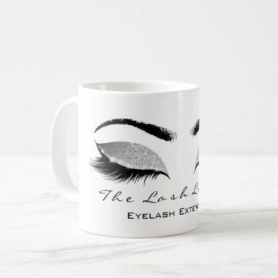 Eyelash Extention Beauty Studio Gray SilverGlitter Coffee Mug