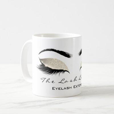 Eyelash Extention Beauty Studio Ivory Glitter Coffee Mug