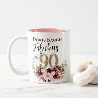 Fabulous and 90 Personalized Floral Birthday Two-Tone Coffee Mug