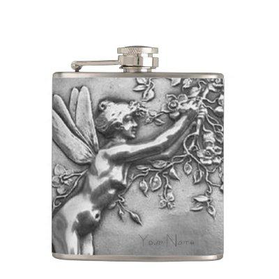 Fairy Lady Antique Silver Repousse Whiskey Nip Flask