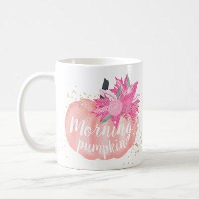Fall morning pink pumpkin watercolor gold glitter coffee mug