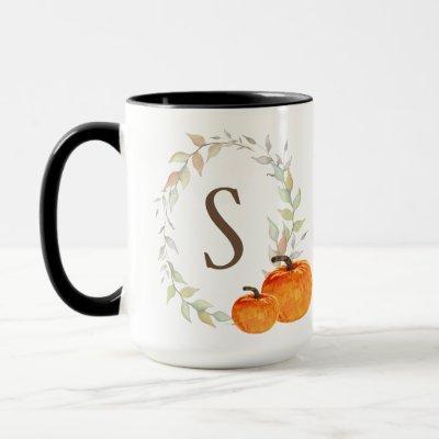Fall Wreath and Pumpkin Monogrammed Mug
