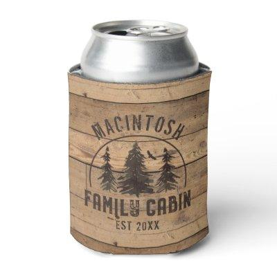 Family Cabin Name Rustic Wood Personalized Can Cooler
