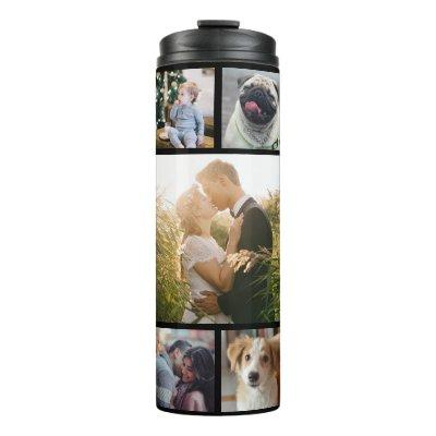 Family Photo Collage 11 Custom Pictures | Black Thermal Tumbler
