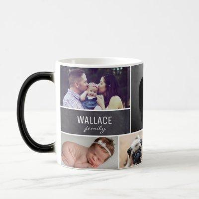Family Photo Collage Last Name Chalkboard Magic Mug