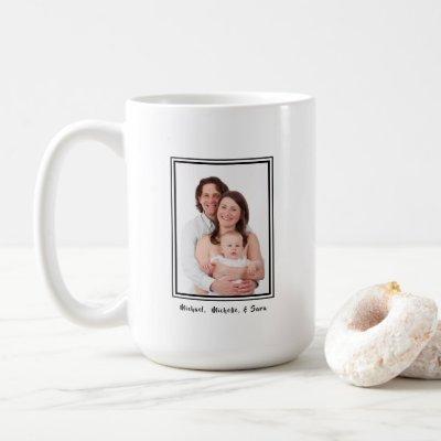 Family Photo Personalized Name Modern Coffee Mug