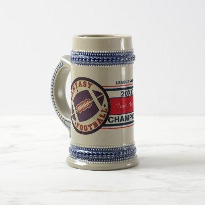 Fantasy Football Champion Trophy (Red and Blue) Beer Stein