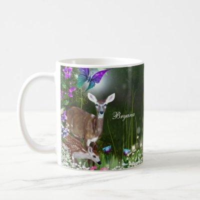 Fantasy woodland forest animals enchanted coffee mug
