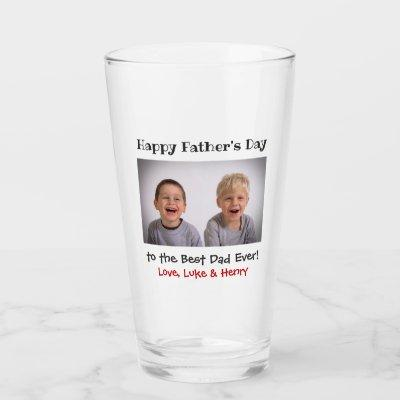 Father's Day Best Dad Ever Kids Photo Beer Pint Glass