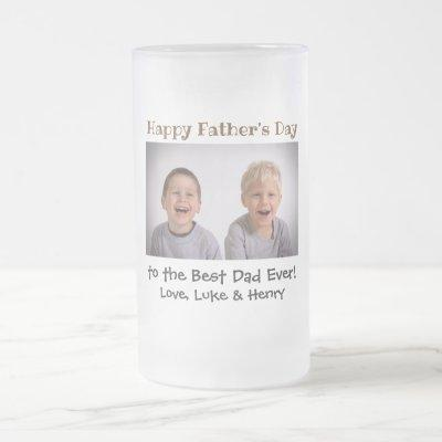 Father's Day Best Dad Ever Kids Photo Frosted Glass Beer Mug