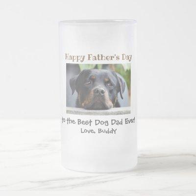 Father's Day Best Dog Dad Ever Pet Photo Frosted Glass Beer Mug