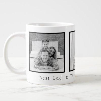 Father's Day Black and White 3 Photos Giant Coffee Mug