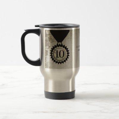 Faux aged stone employee anniversary gifts travel mug