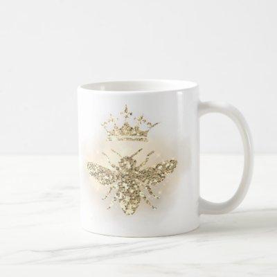faux glitter honey queen bee coffee mug