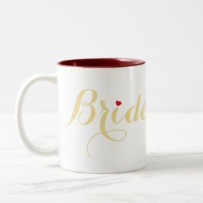 Faux Gold Bride Bridal Shower Wedding Party Heart Two-Tone Coffee Mug