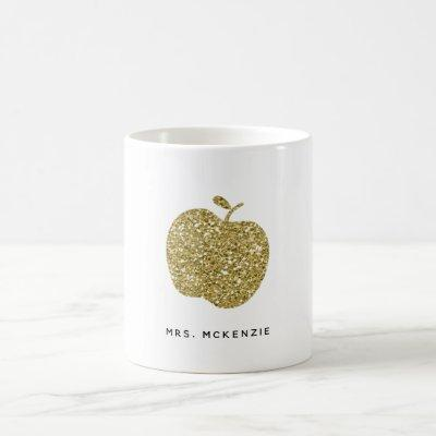 Faux Gold Glitter Apple | Teacher Coffee Mug