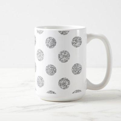 Faux Silver Glitter Polka Dots Pattern on White Coffee Mug