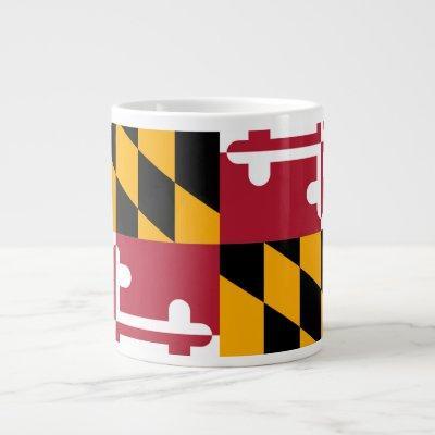 Festive Maryland State Flag Giant Coffee Mug