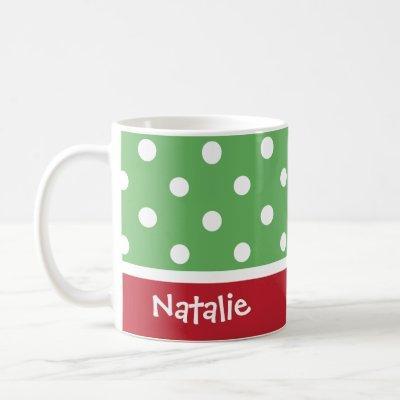 Festive Polka Dots Custom Christmas Monogram Name Coffee Mug