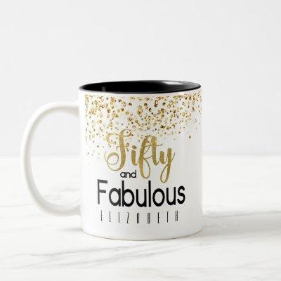 Fifty and Fabulous Black and Gold Jewel Birthday Two-Tone Coffee Mug