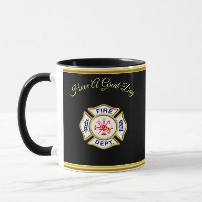 Fire Department logo Blue And White Badge gold Mug