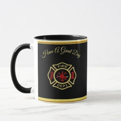 Fire Department logo Gold And Back Badge gold Mug