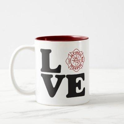 "Fire Dept ""LOVE"" Two Tone Coffee Mug"