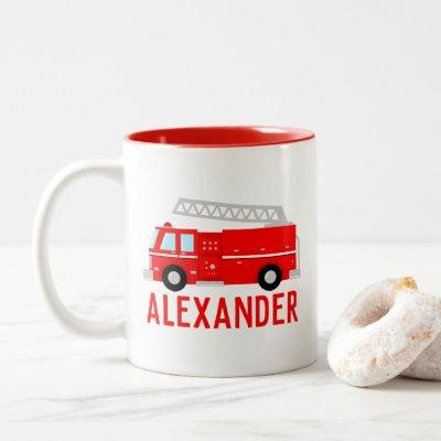 Fire Truck Name Two-Tone Coffee Mug