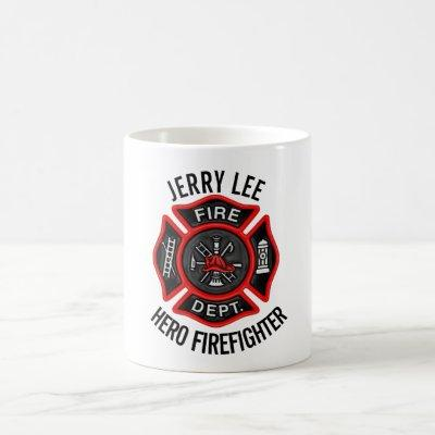 Firefighter Custom Text Name Personalized Coffee Mug