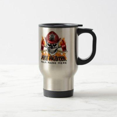 Firefighter Skull 4 and Flaming Axes Travel Mug