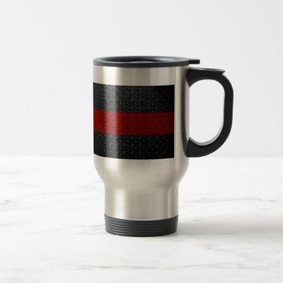 Firefighter Thin Red Line Diamond Plate Travel Mug