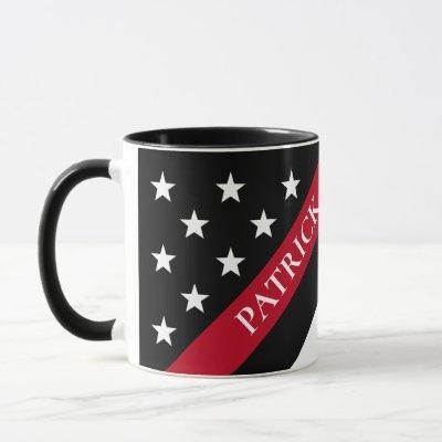 Firefighter Thin Red Line Flag Monogram Name Mug