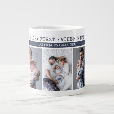 First Father's Day as Grandpa - 5 Photo Collage Giant Coffee Mug