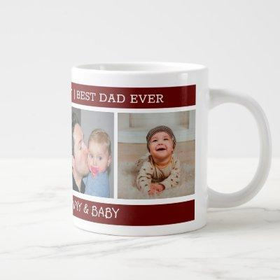 First Father's Day Best Dad Ever 4 Photo Maroon Giant Coffee Mug