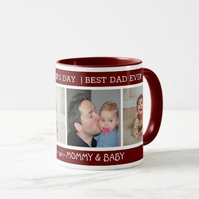 First Father's Day Best Dad Ever 4 Photo Maroon Mug