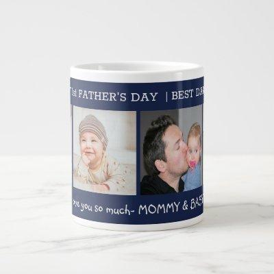 First Father's Day Best Dad Ever 4 Photo Navy Blue Giant Coffee Mug