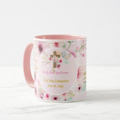 First Holy Communion PHOTO Gift Grils Pink Flowers Mug