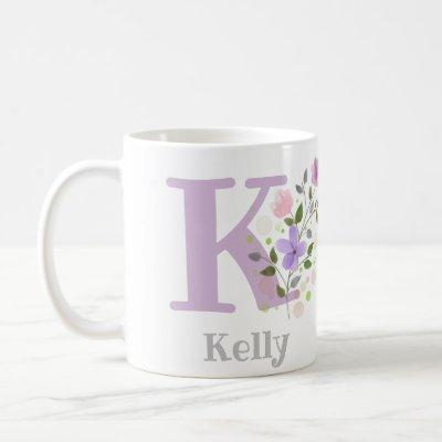 First Initial Plus Name Kelly with Flowers Coffee Mug