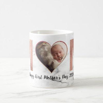 First Mother's Day Baby Photo Rose Gold Heart Coffee Mug