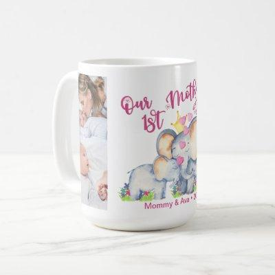 First Mothers Day Mommy and Baby Elephant 4 Photo  Coffee Mug