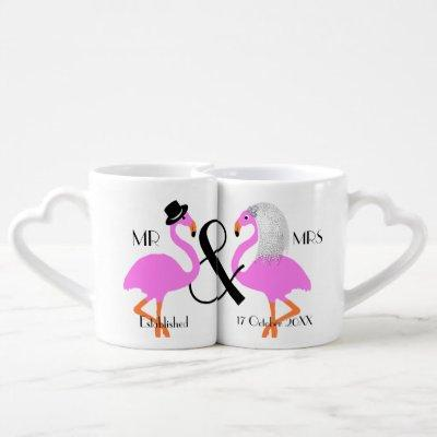 Flamingo Bride Groom Personalized Wedding Gift Coffee Mug Set