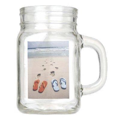 **FLIP FLOPS AT THE BEACH** MASON JAR MUG