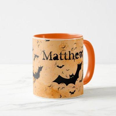 Flock of Halloween Bats, Your Name  on Orange Mug