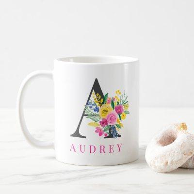 Floral bright pink watercolor monogram name coffee mug